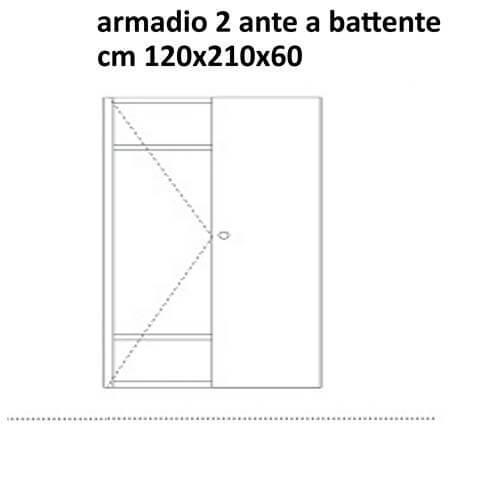 wardrobe with 2 hinged doors