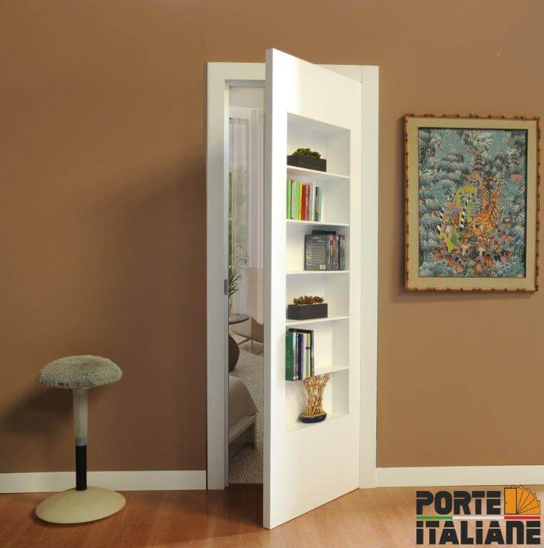 door flush with wall bookcase
