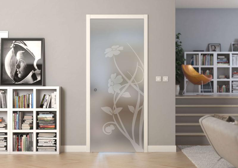 porta vetro temperato satinato sabbiato a disegno positivo